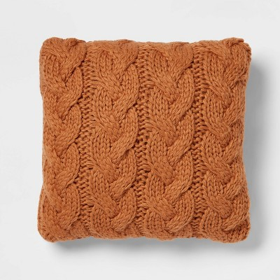 Chunky Cable Knit Square Throw Pillow Bronze - Threshold™