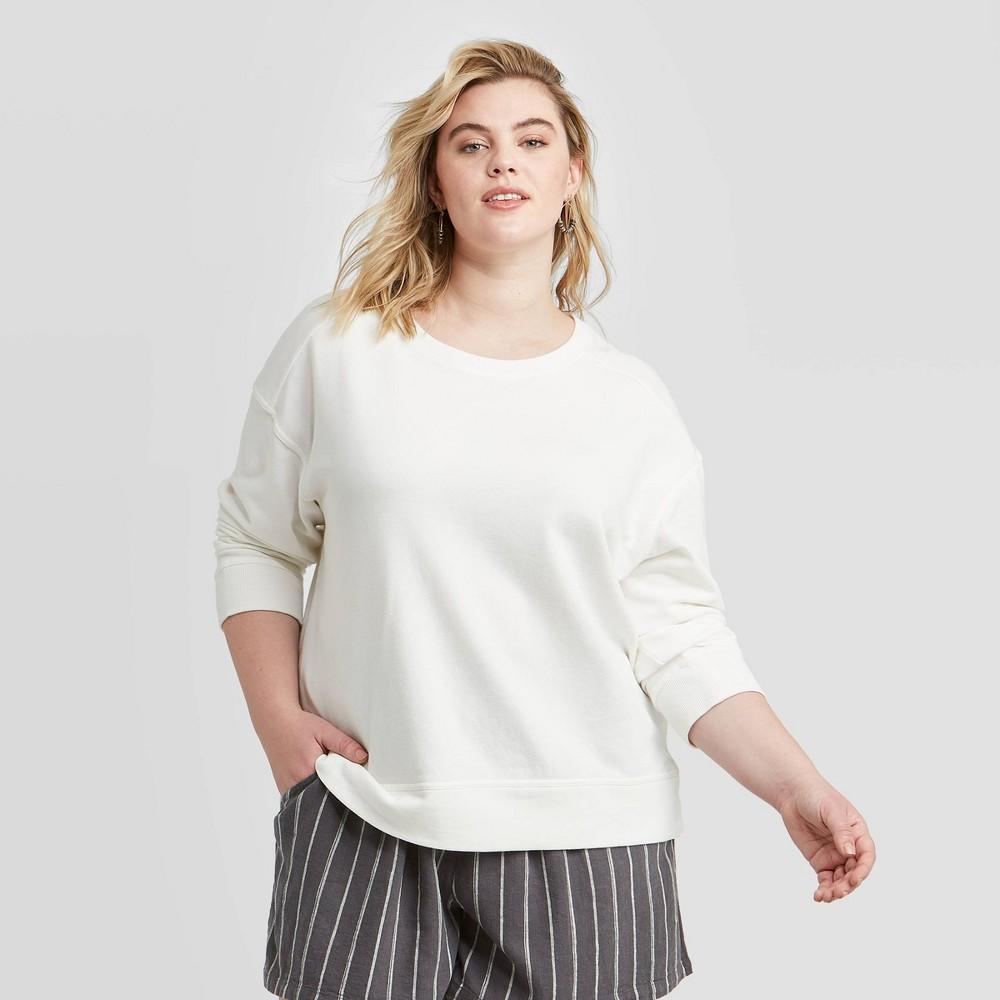 Women's Plus Size Sweatshirt - Universal Thread White 1X was $20.0 now $14.0 (30.0% off)