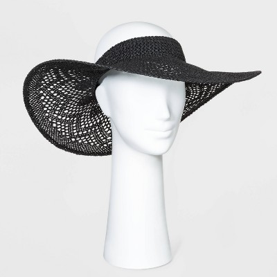 Women's Open Weave Visor Hats - A New Day™ Black One Size