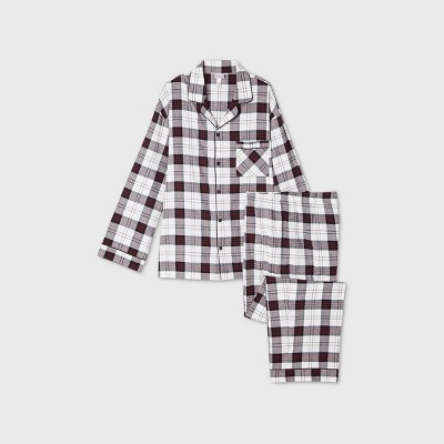 Men's Tall Holiday Plaid Flannel Matching Family Pajama Set - Wondershop™ White LT