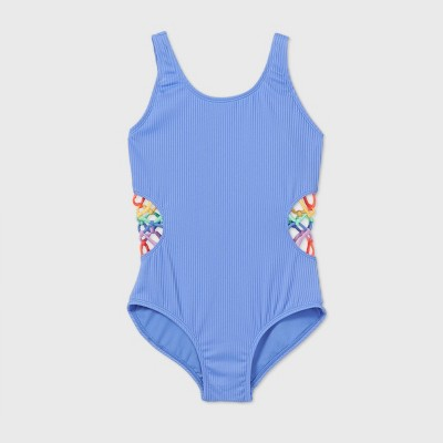 Girls' Cut-Out Ribbed One Piece Swimsuit - art class™ Blue