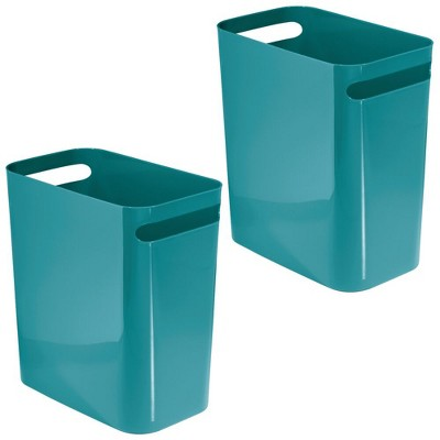 "mDesign Slim Plastic Trash Can Garbage Wastebasket, 12"" High - 2 Pack"