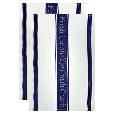 Fresh Catch Jacquard Dish Towel Set Blue (20 X30 )- Mu Kitchen