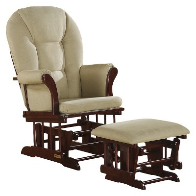 Shermag Alexis Glider Rocker and Ottoman Combo - Cherry with Beige