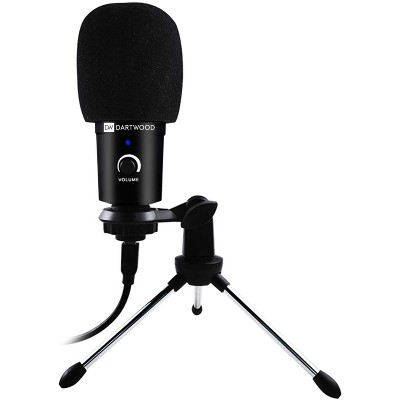 Dartwood Condenser Studio Microphone - Plug and Play USB Powered for Windows, Apple MacBook, Laptops, PC, TVs with Adjustable Tripod and Shock Mount