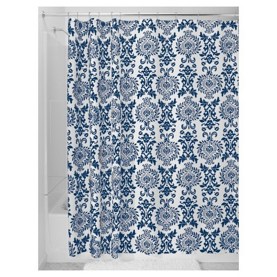 Damask Shower Curtain - Navy Blue InterDesign