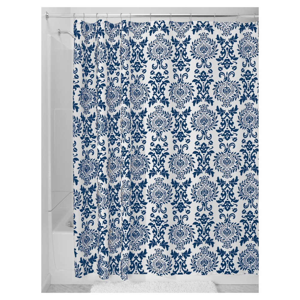 Image of Damask Shower Curtain - Navy Blue InterDesign