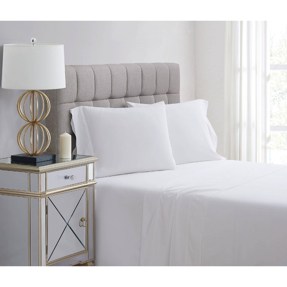 King 400 Thread Count Solid Percale Pillowcase Set White - Charisma Promos