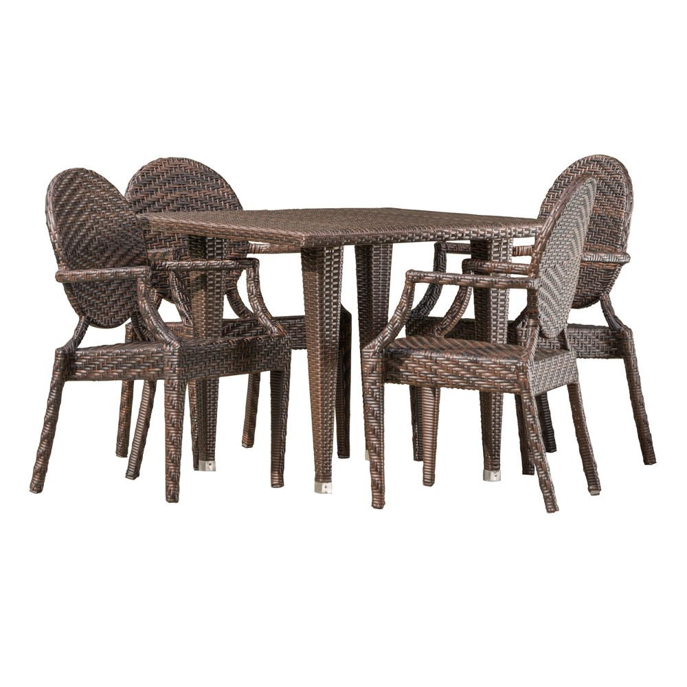 Lexington 5pc Wicker Dining Set - Brown - Christopher Knight Home