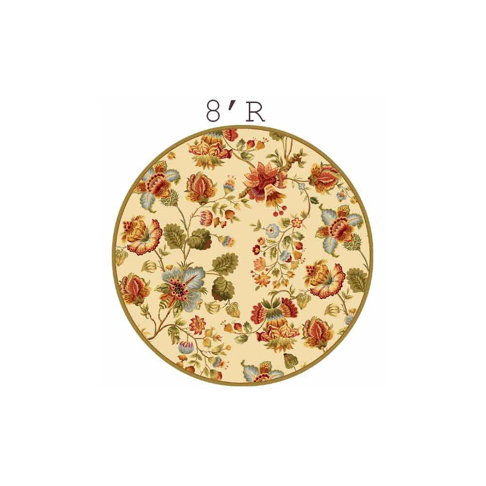 8' Hooked Floral Round Area Rug Ivory - Safavieh