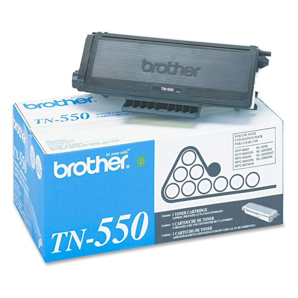 Brother TN550 Toner, Black (TN550) Increase productivity and reduce costs when each cartridge delivers value and dependability. Each cartridge produces clear, sharp and professional printing results. Easy-to-install cartridges for a seamless operation. Your documents deserve the quality enhancements that only Brother toners can offer. Device Types: Laser Printer; Color(s): Black; Page-Yield: 3500; Supply Type: Toner. Size: TN550.