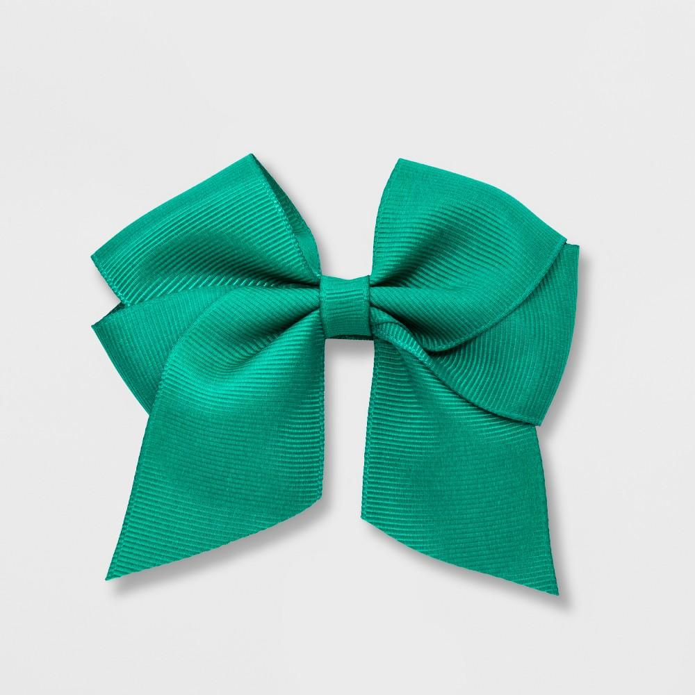 Girls' Tailed Grosgrain Bow Clip - Cat & Jack Dark Green