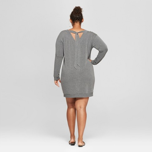 d9c8e87fa29 Women s Plus Size Tie Back Dress - Ava   Viv™ Heather Gray X   Target