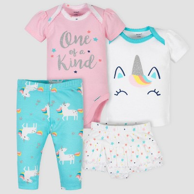 Gerber Baby Girls' 4pc Unicorn Shirt Skirt and Pants Set - Pink/White/Blue 3-6M
