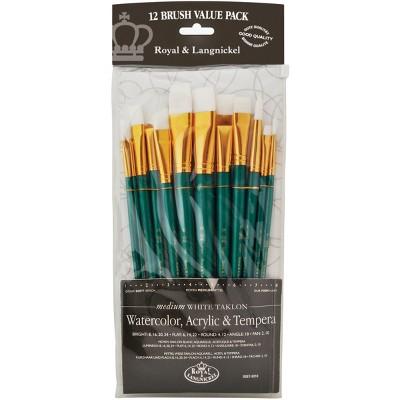 White Bristle Long Handle Value Pack Brush Set-12/Pkg