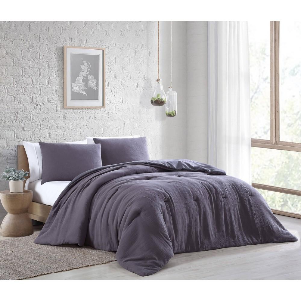 Queen 3pc Annika Cotton Gauze Comforter Set Charcoal Geneva Home Fashion