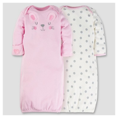 Baby Girls' 2pk Cotton Gown - Bunny 0-6M - Gerber®