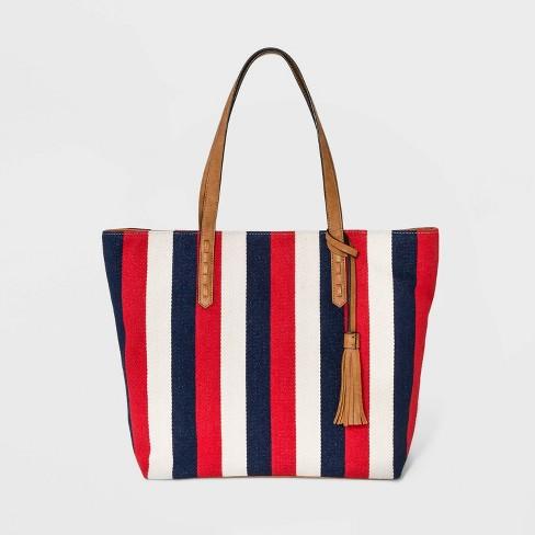 Printed Canvas Tote Handbag Red Blue