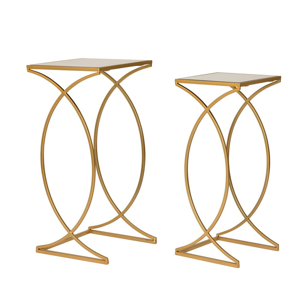 "Image of ""28"""" Metal With Glass Accent Table Set of 2 Gold - Glitzhome"""