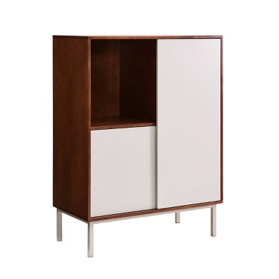 Hanzi Two-Tone Sliding Door Cabinet Gray/Brown - Holly & Martin