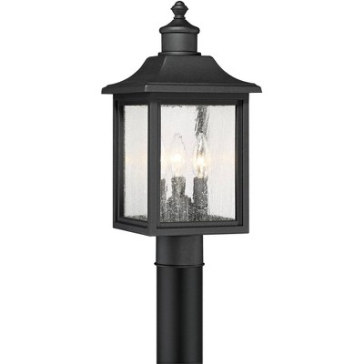 "John Timberland Outdoor Post Light Fixture Mission Style Black 17"" Clear Seedy Glass for Exterior Garden Yard Patio"