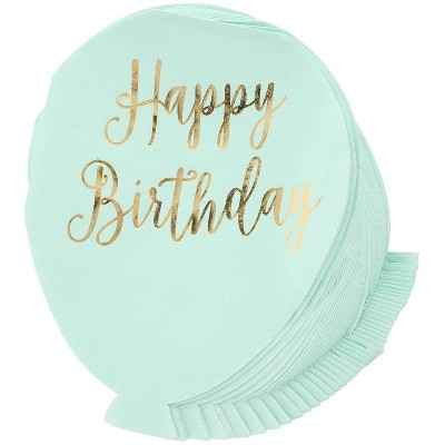 Juvale 50-Pack Happy Birthday Green Balloon Disposable Paper Napkins Party Supplies