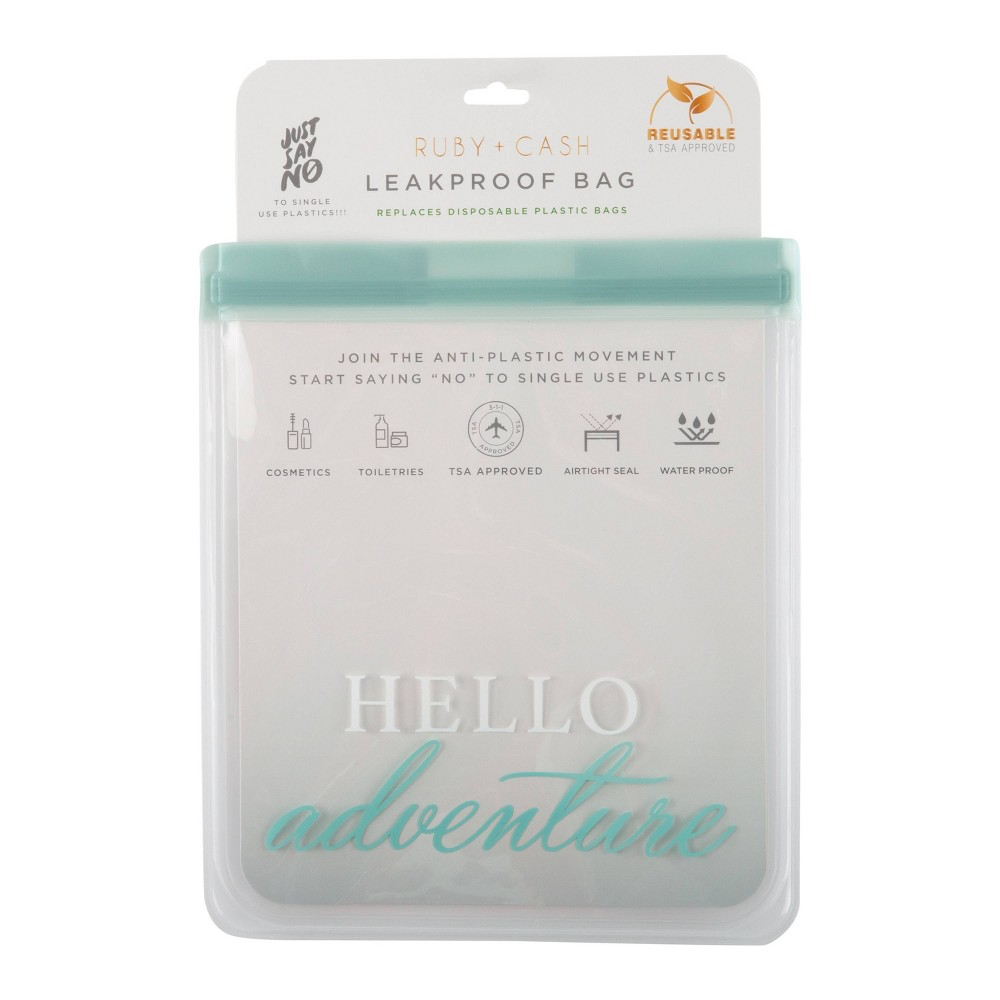 Image of Ruby+Cash Hello Adventure Leakproof Quart Size Bag - TSA Approved