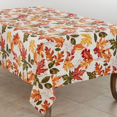 """65"""" X 84"""" Embroidered Autumn Leaves Tablecloth - SARO Lifestyle"""