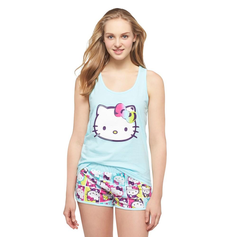 Women's Hello Kitty Tank/Shorts Pajama Set Aqua (Blue), Size: XL