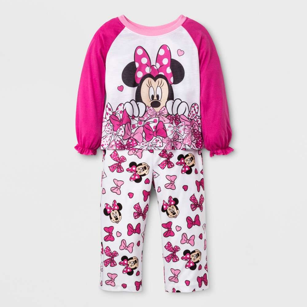 Minnie Mouse Toddler Girls' 2pc Poly Pajama Set - Pink 4T
