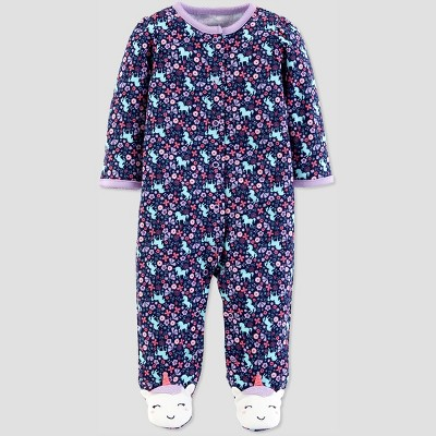 Baby Girls' Floral Unicorn Sleep 'N Play - Just One You® made by carter's Purple 3M