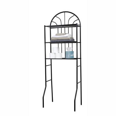 Home Basics 2 Shelf Steel Bathroom Space Saver, Black