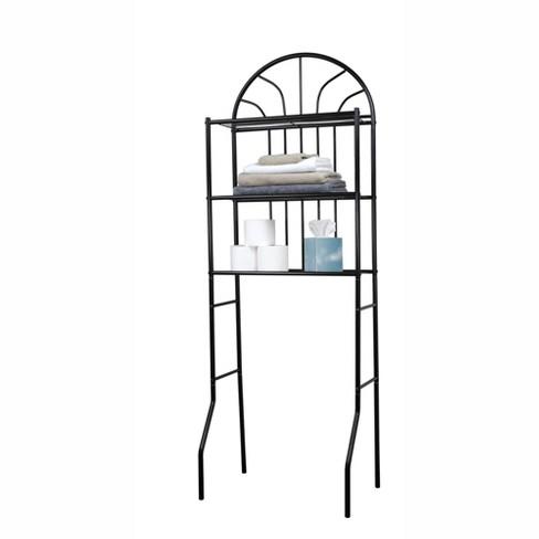 Home Basics 2 Shelf Steel Bathroom, Black Bathroom Space Saver
