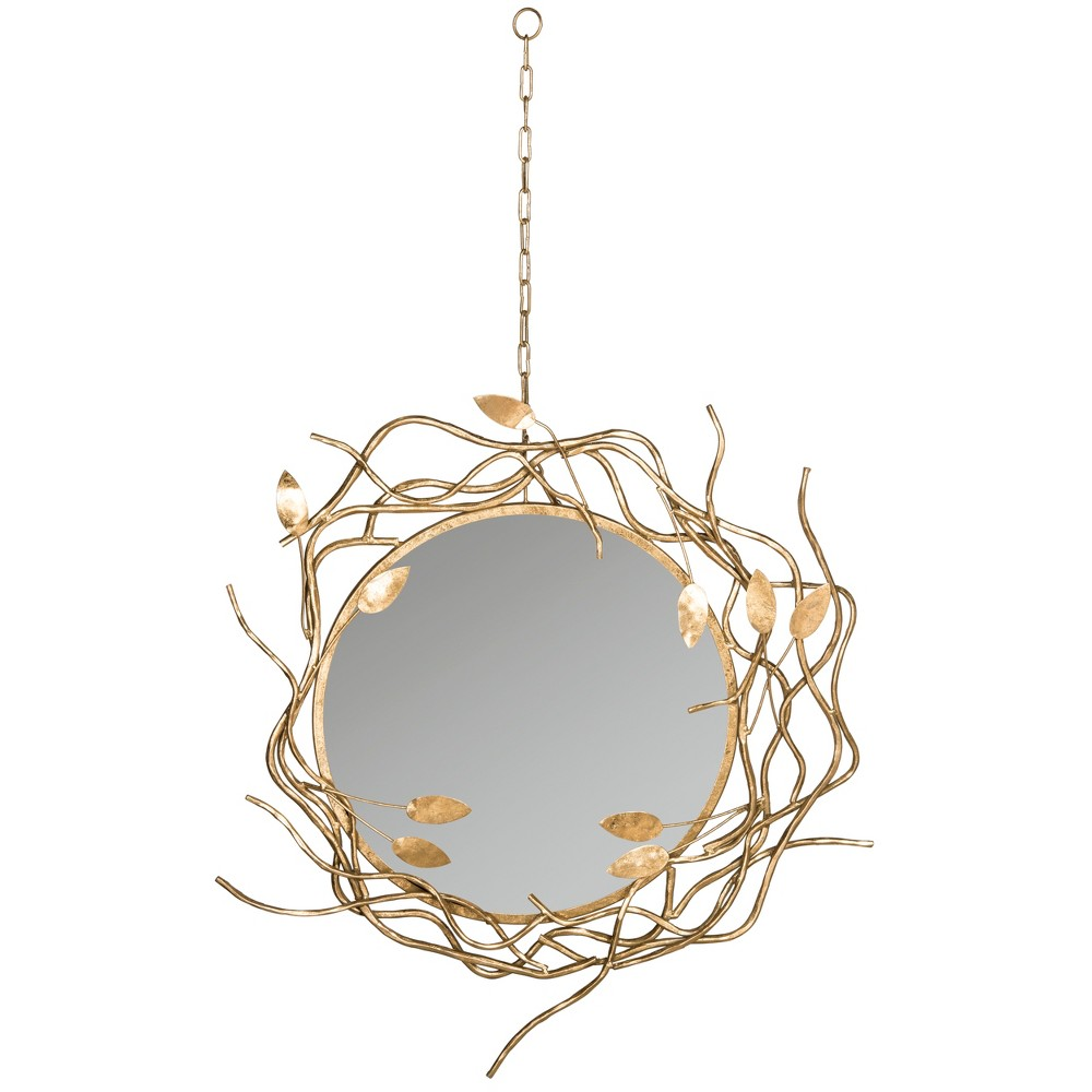 Round Gold Branches Decorative Wall Mirror with Chain - Safavieh, Antique Gold