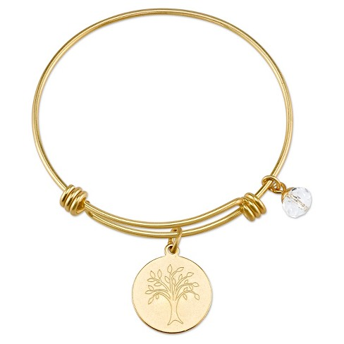 "Women's Stainless Steel Family Tree Expandable Bracelet - gold (8"") - image 1 of 2"