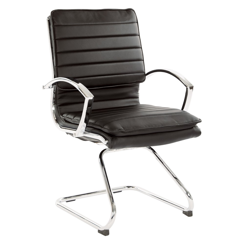 Guest Faux Leather Chair With Chrome Base Black - Osp Home Furnishings
