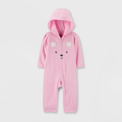 Baby Girls' Bear Fleece Hooded Romper - Just One You® made by carter's Pink Newborn
