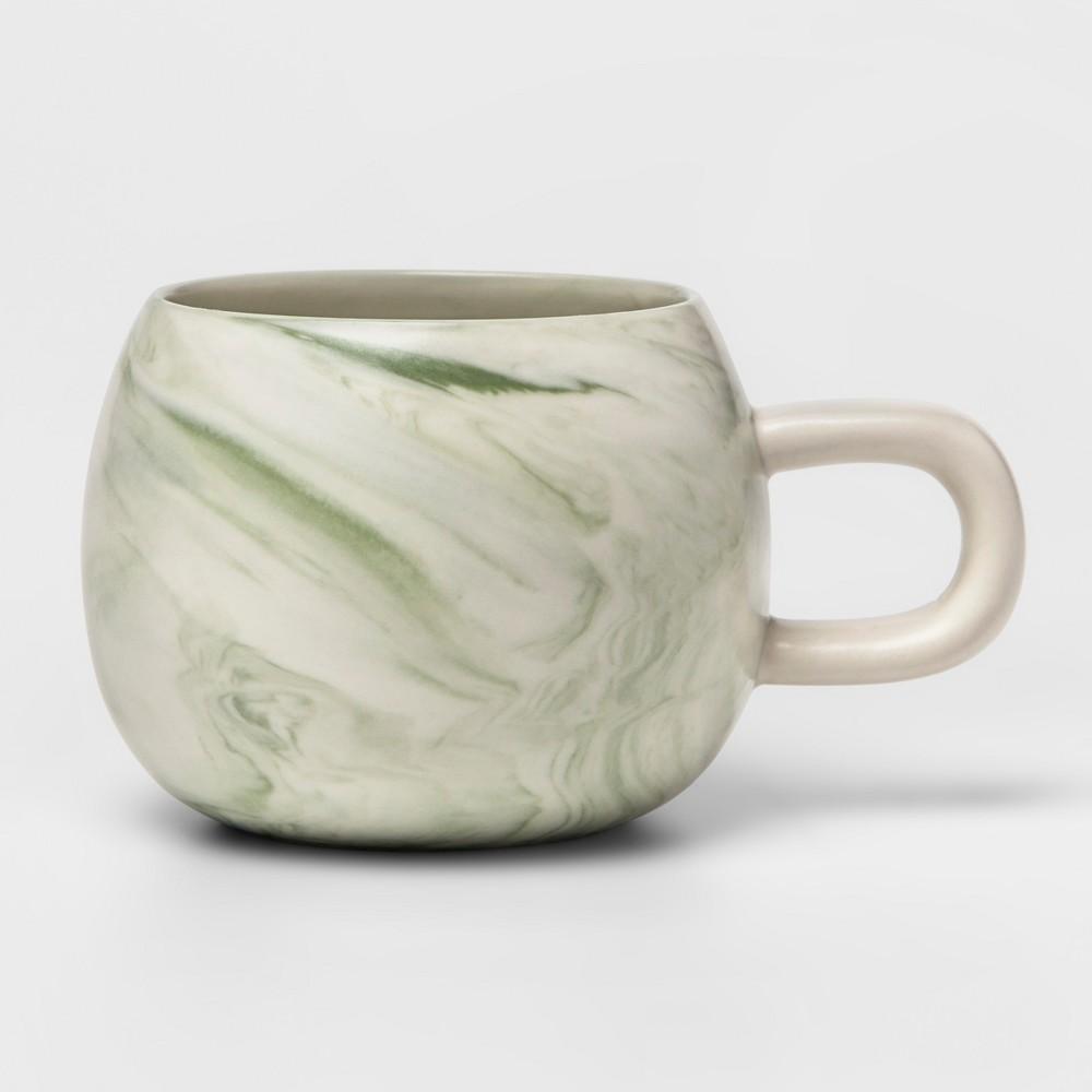 10.3oz Stoneware Marbleized Mug Green - Project 62