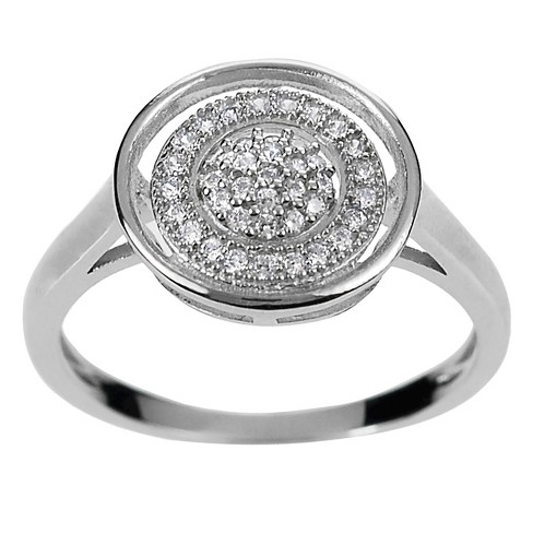 1 2/5 CT. T.W. Round-cut Cubic Zirconia Circle Engagement Pave Set Ring in Sterling Silver - Silver - image 1 of 2