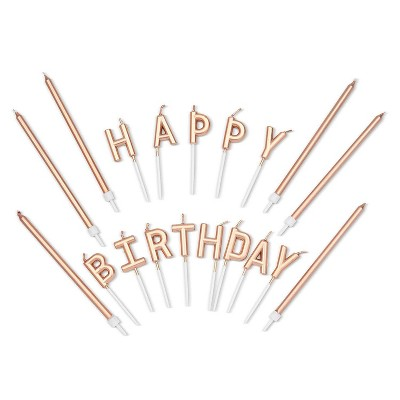 "Blue Panda 37-Count Metallic Rose Gold ""Happy Birthday"" Letters Cake Topper with Thin Candles 5-Inch & Holders"