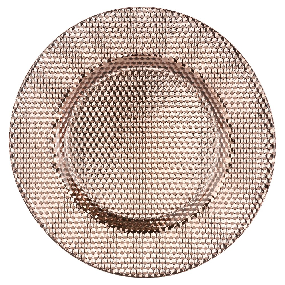 Image of 10 Strawberry Street 13 Deco Glass Charger - Copper, Golden Bronze