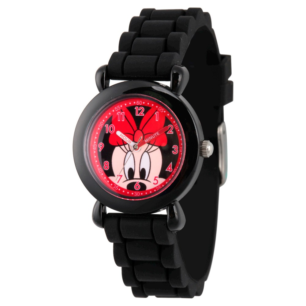 Image of Disney Minnie Mouse Girls' Black Plastic Time Teacher Watch, Black Silicone Strap, WDS000135, Girl's