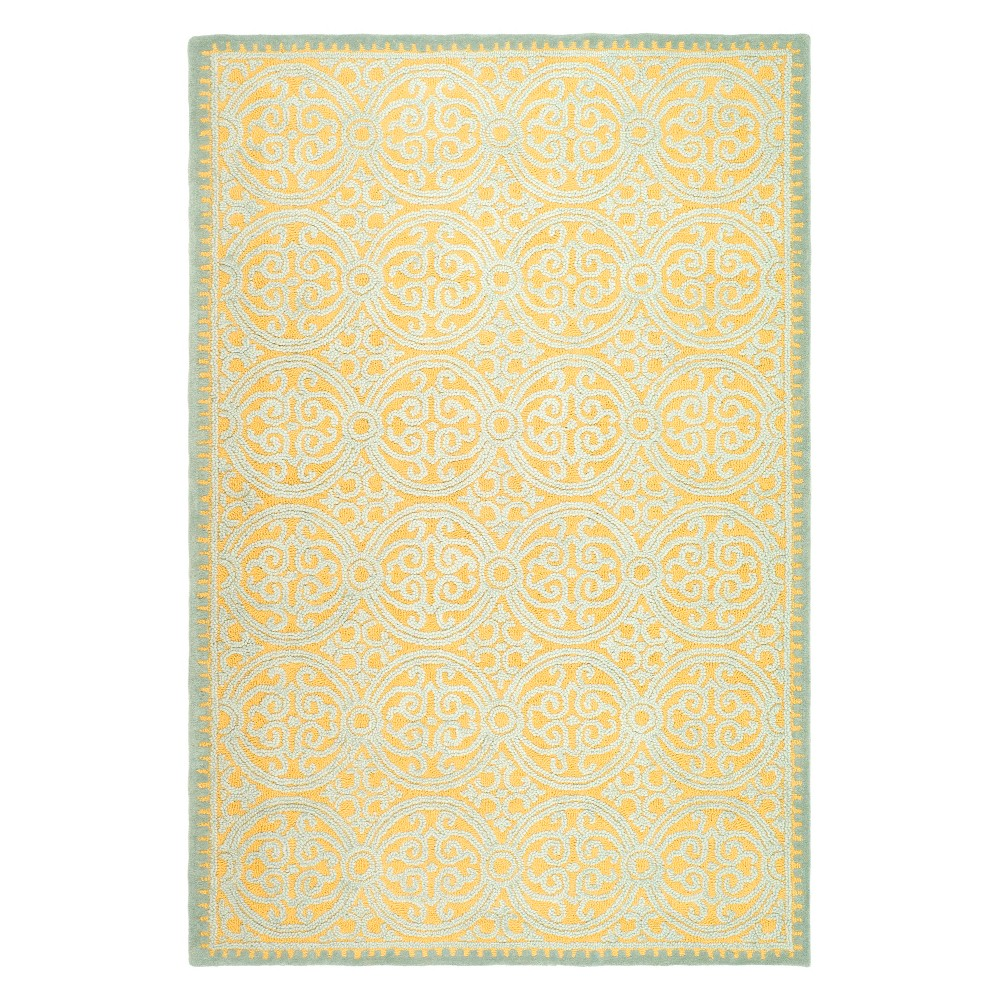 Medallion Tufted Area Rug Blue/Gold