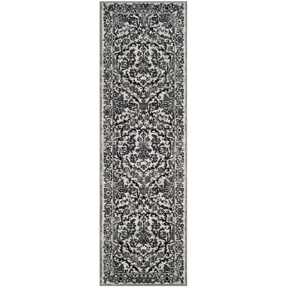 13' Floral Loomed Runner Rug Ivory/Gray