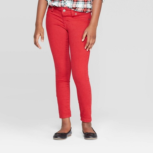 Girls' Jeggings - Cat & Jack™ Red - image 1 of 3