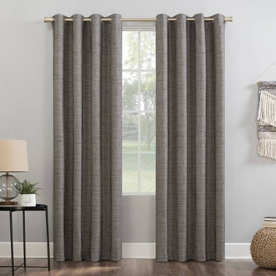 Kline Burlap Weave Thermal 100% Blackout Grommet Top Curtain Panel - Sun Zero