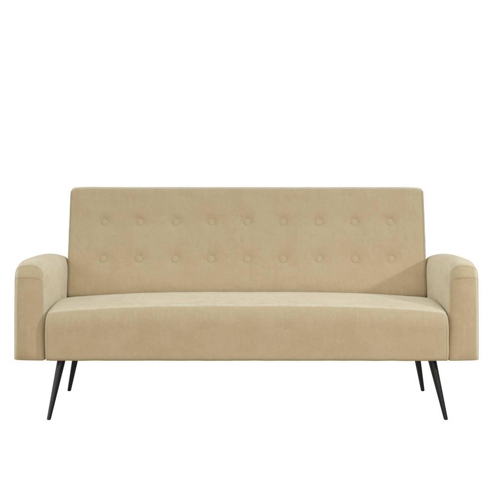 Image of Stevie Futon Convertible Sofa Bed Couch Ivory Velvet - Novogratz