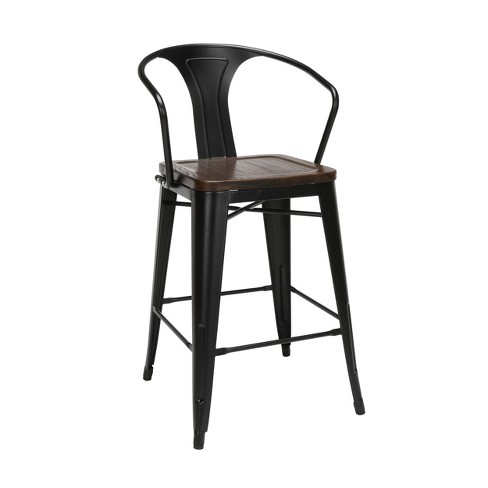 "Set of 4 26"" Industrial Modern Mid Back Galvanized Steel Counter Stool with Arms and Solid Ash Wood Seats - OFM - image 1 of 4"