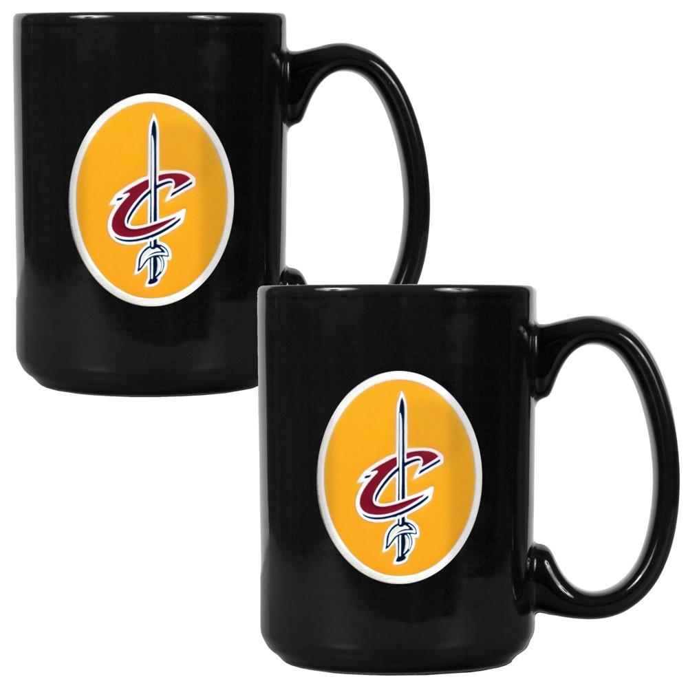 NBA Cleveland Cavaliers 2pk 15oz Black Coffee Mug Set