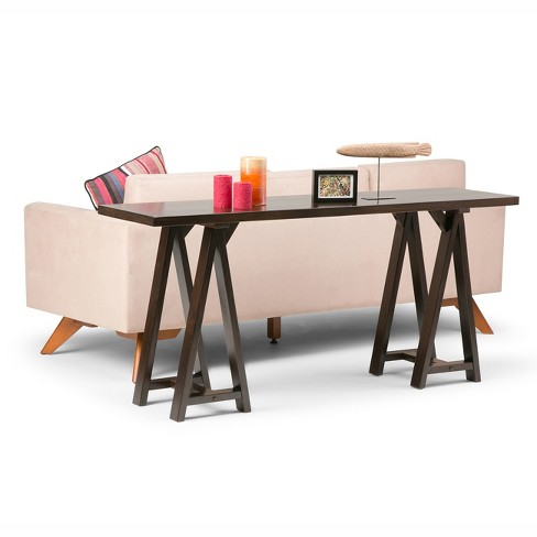 Sawhorse Wide Console Sofa Table Dark Chestnut Brown Simpli Home Target